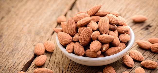 A mound of nutrient-rich almonds