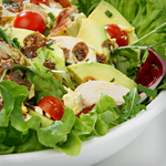 salad with chicken, bacon, and avocado