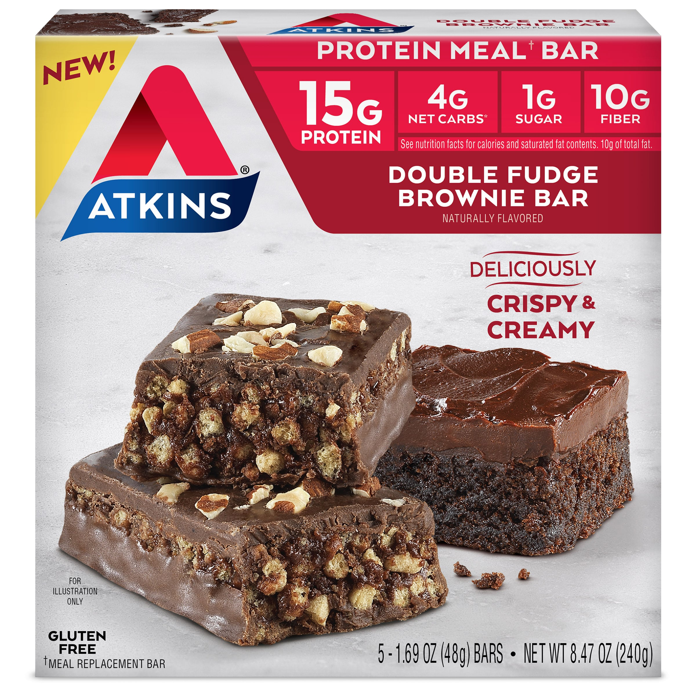 Atkins Double Fudge Brownie 5 count Package