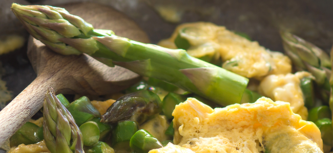Photo of Scrambled Eggs with Goat Cheese and Asparagus