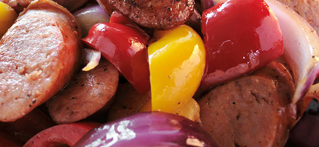 """Photo of Vegetarian """"Sausage"""" Sauté with Red Bell Pepper and Onions"""