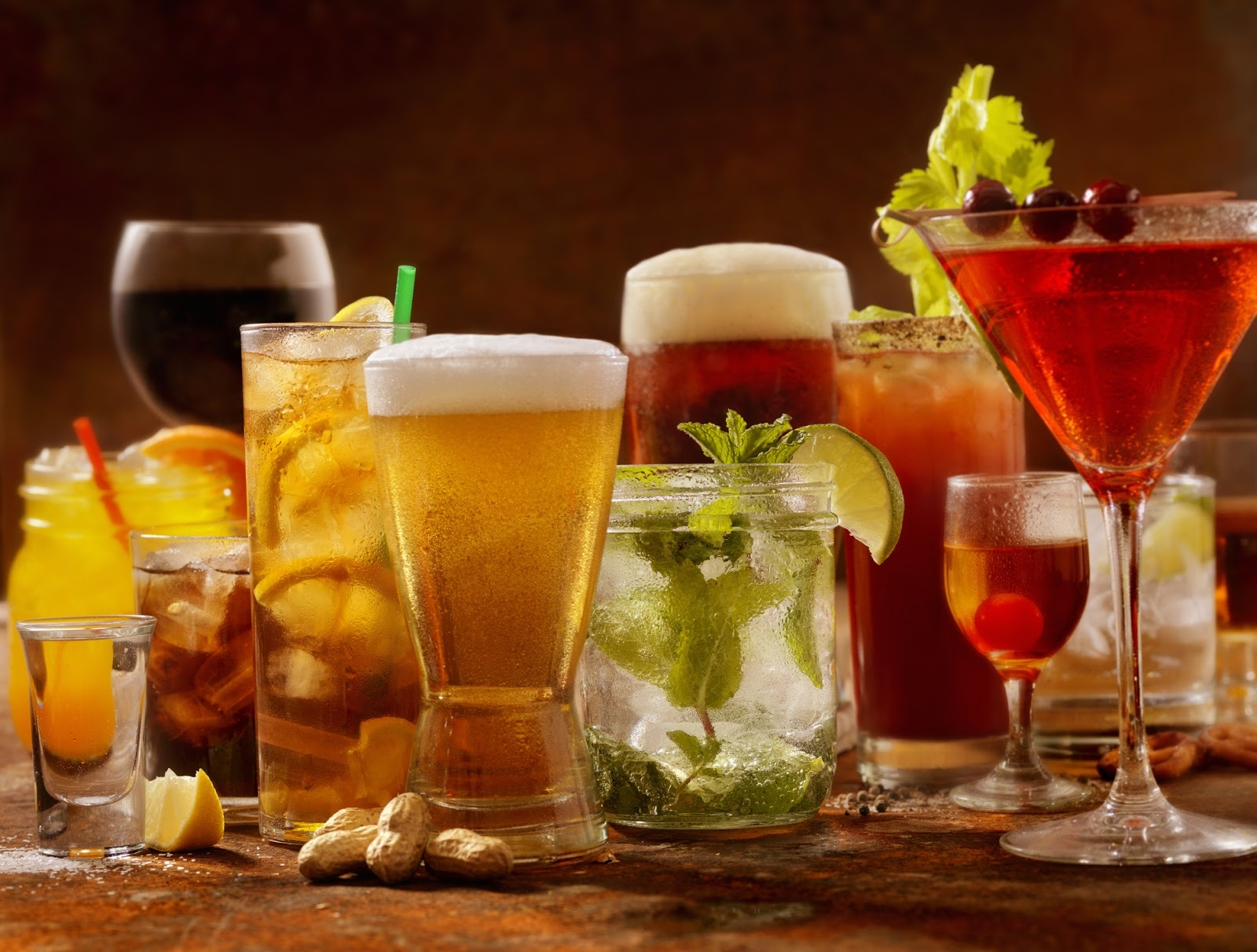 assortment of alcoholic beverages