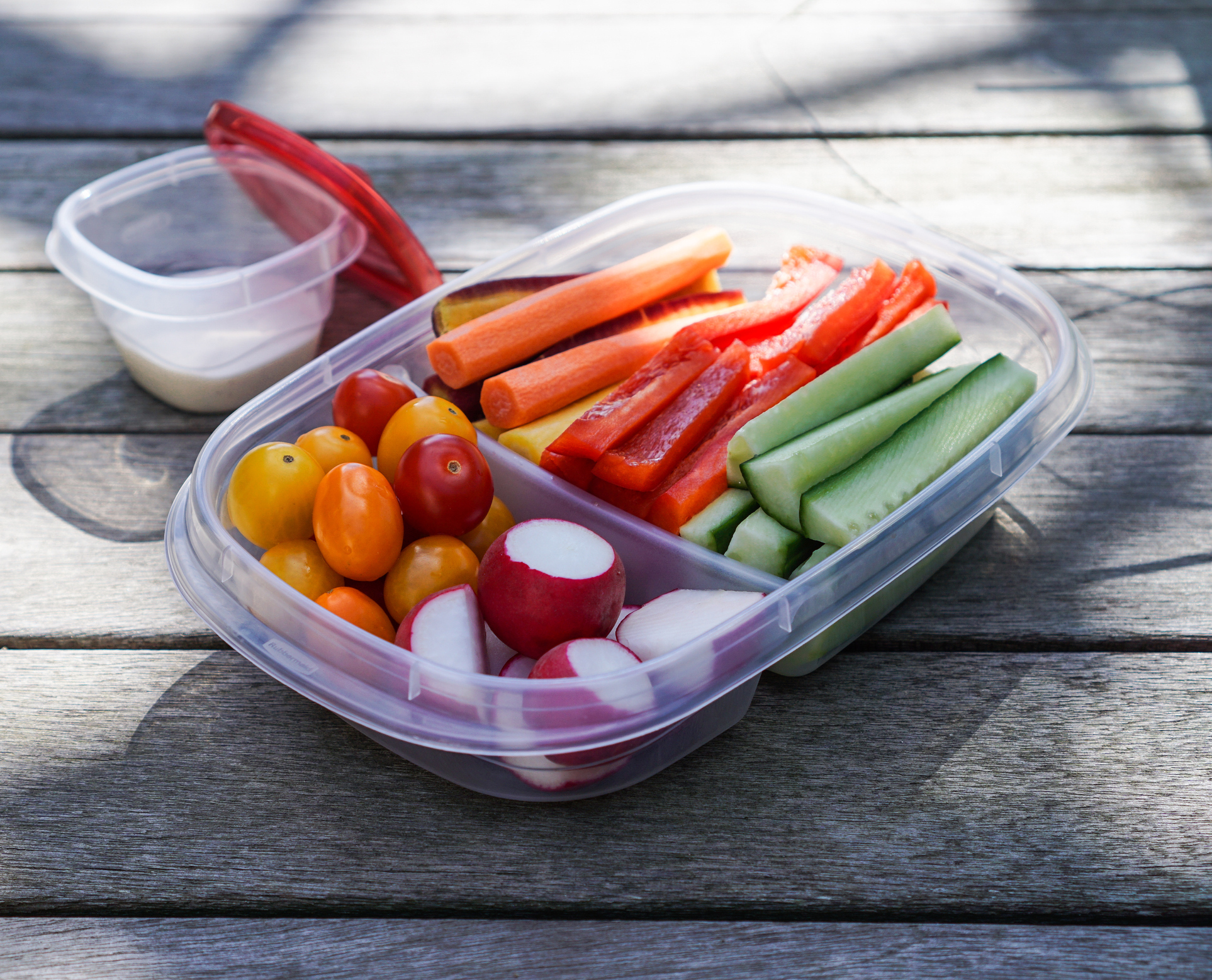 To go container of various vegetables