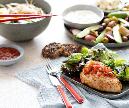 A spread of low carb dishes whose recipes can be found in The Atkins 100 Eating Solution book